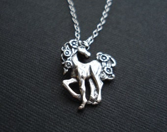 Sterling Silver Unicorn Necklace Unicorn Pendant. Fantasy Jewelry Girls Jewelry Girls Gift Gift For Her Under 50