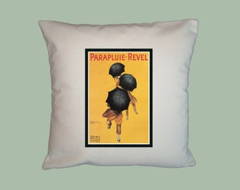 Vintage French Parapluie-Revel Ad Poster  HANDMADE 16x16 Pillow Cover- Choice of Fabric