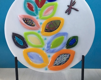 """Fused Glass Art Panel ~ Fantasy RAINBOW PLANT Dichroic Glass Leaves and Dragonfly~ 11"""" Round ~ Includes Metal Stand, Handmade"""