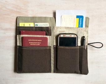 "Passport holder ""Hiking lust with zipper"" Travel organizer"