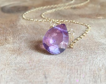 Amethyst Necklace - Crystal Necklace - Amethyst Jewelry - Gemstone Necklace - Simple Dainty Necklace - February Birthstone Necklace