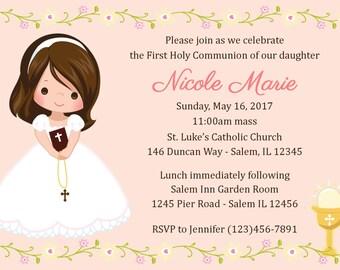 First Communion Invitation - Girl  (Digital File) / 1st Communion Invitation - Communion Invitation - Primera Comunion