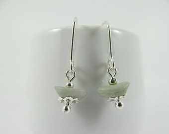 Soft Grey Miyuki Glass Vintage Bead Drop Earrings