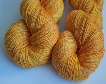 Princess Bride inspired yarn, SW Merino Stellina sock, fingering, Hand painted, 4 oz, 425 yards, yellow, gold, sparkle, orange, buttercup