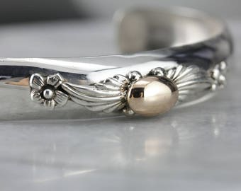 Floral Mixed Metal Cuff Bracelet, Silver and Gold Bangle QP022FHD-P