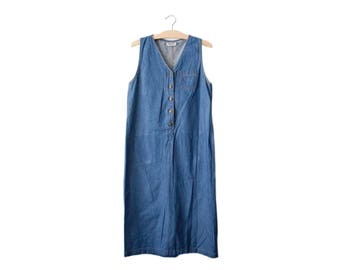 90s denim midi dress | M