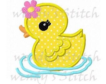girl duck applique machine embroidery design