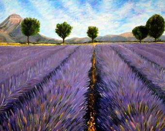 Lavender fields, original nature oil painting for sale, purple, garden and trees landscape