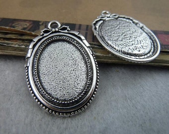 10 Bow Tie Oval Pendant Trays Antique Silver Tone Bezel Setting Fitting 18x25mm Cabochon (YT6517)