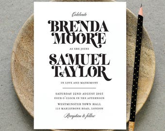 Printable Wedding Invitation PDF / 'Bold Strokes' Modern Typography Invite / Black and White / Digital File Only / Printing Also Available