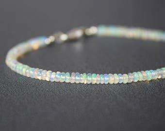 Opal Bracelet, All Opal Bracelet, Ethiopian Opal Bracelet, October Birthstone, Dainty Beaded Gemstone Stacking Bracelet