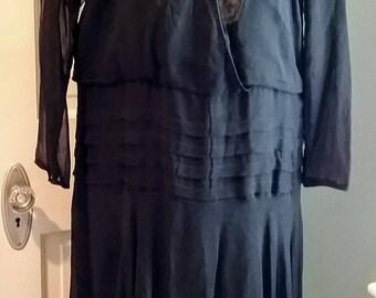 1920s 20s Flapper silk chiffon and lace dress