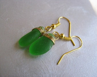 Genuine Sea Glass Jewelry - Kelly Green , Sea Glass Earrings , Gold Plated Wire Wrapped , Sea Glass , Beach Glass Jewelry- Mermaid Tears