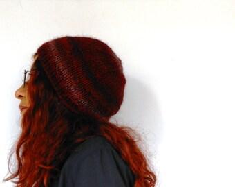 alpaca knitted hat, knit beanie, beanie hat burgundy melange, handknitted beret grunge style  Inspirational womens mens gift under 40