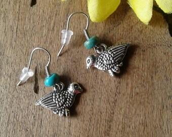 Turquoise Quail Earrings Bird Earrings Robins Earrings