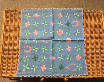 4 Leaf Clover Wish Bone Good Luck Horse Shoe Handkerchief Vintage RARE