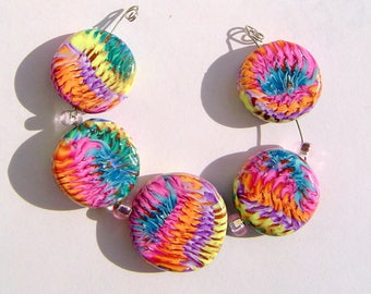 Sediment Layers Artisan Polymer Clay Bead Set with Focal and 4 Beads