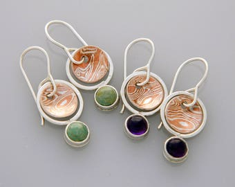 """Mixed metal earrings """"planets"""" with turquoise"""