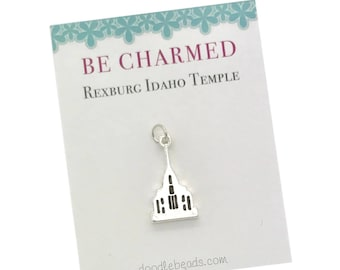 Rexburg Temple, LDS Temples, Rexburg Idaho Temple charms, LDS Wedding, Mormon temple charm bracelet, temple Necklace or temple keyring