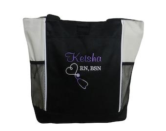 Tote Bag Personalized Nurse Student RN BSN CNA Rt Lvn lpn Nicu Msn Rt Cpnp Cardiac Respiratory Care er Department  Nursing ccrn Clinical