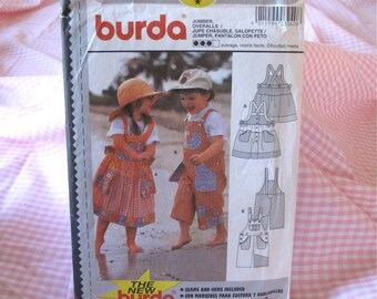 Burda 3040 Girls and Boys Jumper Dress and Overalls Sewing Pattern Size 18 - 24 Months to Kids 6  - Children's Clothing Pattern UNCUT