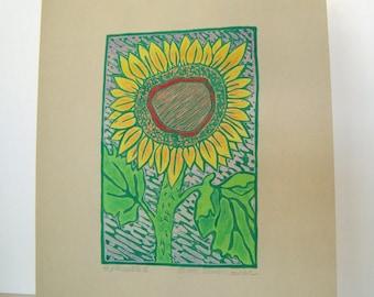 Sonnenblume II-Druck - 6.5x4.5. Farbige. Grüner Tinte. Linoleum Drucke Wand Kunst Blumen Kunst Hand Linoldruck Flower Print Block-Drucke