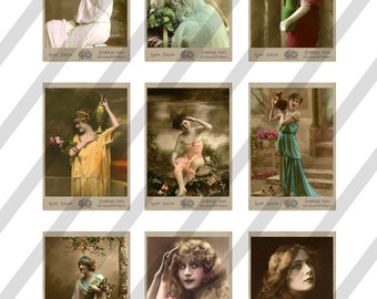 Digital Collage Sheet Vintage Beautiful Ladies Images (Sheet no. O146) instant Download