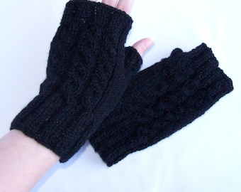 Black fingerless mittens, unisex wool hand warmers for him and her, outdoor and indoor use, medium size M and L