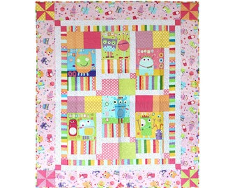 Pink Silly Monster Youth Quilt. Nursery Bedding. Toddler Baby Girl Nap Blankie. Handmade Cotton Crib Blanket. Pastel Coverlet