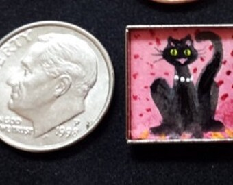 Miniature painting Cat Art Miniature painting original framed Pink Kitty 5/8 x 5/8 mini art Doll house art miniature art artbyevelynmarie