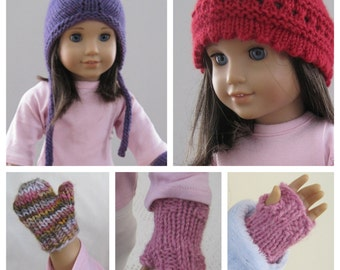 Collection of 5 American Girl Knitting Patterns - Hat Mittens patterns for American Girl Dolls