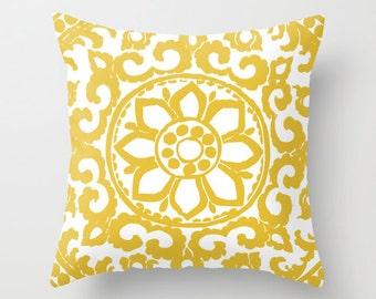 Art Deco Flower Pillow  // Mustard Yellow Pillow // Modern Home Decor // By Aldari Home