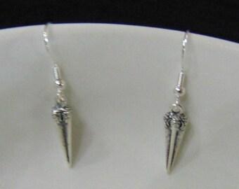 Silver Drop Earrings, Silver Earrings, Silver Spike Earrings, Antiqued Silver Spike Earrings, Antiqued Silver Earrings, Antiqued Earrings