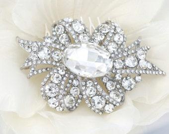 Carla - Vintage Style Rhinestone Crystals Wedding  Comb