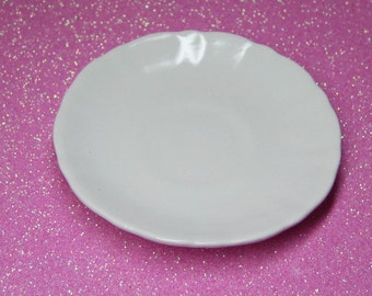 dolls plate 69mm for your American Girl or 18 inch doll dish AG party favor white ceramic miniature plate 2.75 inch diameter
