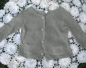 Hand Crochet Khaki cardigan, Size Large, Soft Eucalyptus Green, Crochet covered buttons, 2 front pockets, 55 Ramie, 45 Cotton