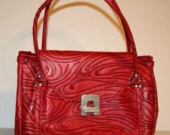 Embossed Repurposed Red Leather Handbag