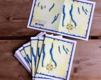 6 blank note cards – Finger Lakes Map – Finger Lakes region of NY