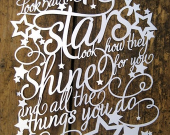 Papercut Template 'Look at the Stars, Look how they Shine for You' PDF JPEG for handcutting & SVG file for Silhouette Cameo or Cricut