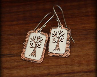 Sterling silver and copper tree earrings, Tree of life