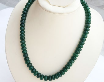 Natural emerald rondelle beads ~~~ 1 Strand ~~~ 460 carat ~~~ 9 to 12 mm graduated ~~~ 64 pieces ~~~ Wholesale price ~~~