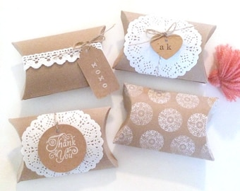 6 blank pillow kraft boxes - pillow favor box - wedding favors kraft boxes - gift boxes - kraft pillow box - gift wrapping - paper goods