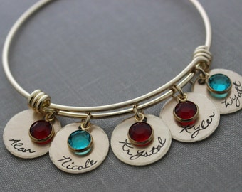 Personalized Name wire bangle Bracelet - Gold plated stainless steel Children's names Hand stamped NuGold discs Swarovski crystal birthstone