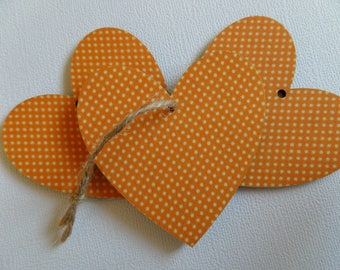 Set of 3 wood tags and fabric heart
