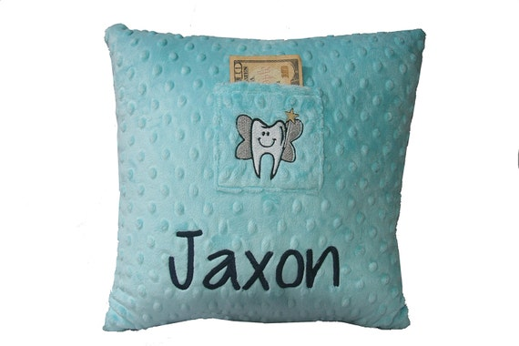 Tooth Fairy Boys Pillow (Name of your choice embroidered on Pillow) Jaxon Style
