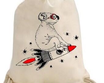 Back to school, gym, pool, gym bag / Duffel koala on a rocket