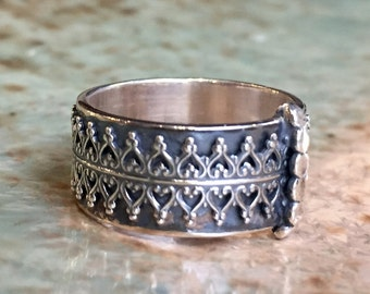 Crown Silver ring, Wide silver band, wide silver band,unisex band, wedding band, organic boho ring, statement ring - Soft night R2434