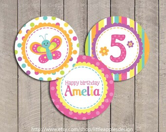 Butterfly Cupcake Toppers / Butterfly Cake Toppers / Butterfly Birthday Decoration / Butterfly Printable / Purple Butterfly Decoration / DI