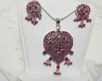 Wonderful Estate Sterling Silver Ruby Pendant andEarrings with Sterling Silver Chain