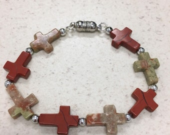 Jasper stone crosses bracelet magnetic stretch